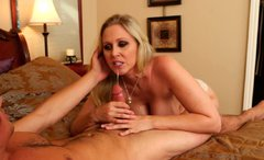 Devilish blonde mom Julia Ann is screwed bad in dirty porn clip