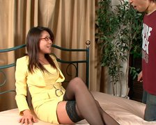 Four-eyed bitch Mizuki Ogawa plays with herself in front of a horny guy