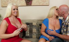 Two busty lesbians Alura Jenson  and Karen Fisher satisfy one cocky guy