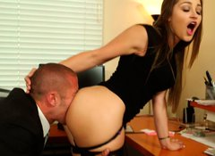 Sexy boss Dani Daniels gives a hot blowjob to her office assistant