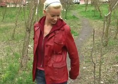 Salty Russian milf shows off her nipples while walking a dog