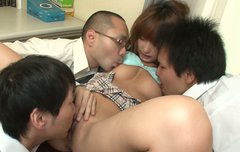 Student chick from Japan Sana Anju gets fingered by her coeds