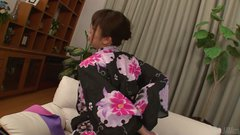 Frisky Japanese cutie Marika pounds her anal hole with dildos