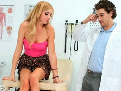 Spoiled blondie Eos gives deepthroat blowjob to her doctor