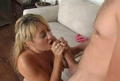 Gifted hot blondie Ashley Knight kneels down for giving a stout blowjob