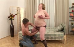 Obese slutty and disgusting old bitch gets her mature musty cunt drilled