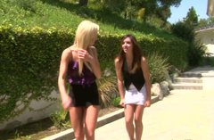 Horny girls fuck their new neighbors having hot foursome