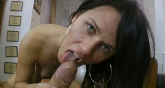 Lewd and zealous brunette desires to fill her mouth full with tasty cum