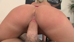 Juicy blonde gives pov blowjob and gets her ass fucked