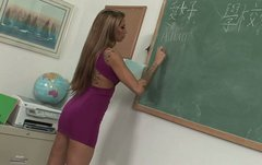 Horny tattooed  teacher making  love with her student