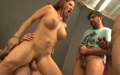 Chunky redhead mom is getting screwed bad in a hardcore threesome action