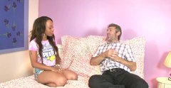 Buxom ebony chick gives her man the best blowjob of his life