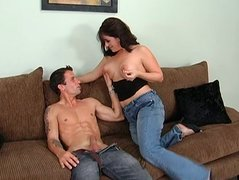 Voluptuous brunette mom Sandy Beach gives a head to stiff dick