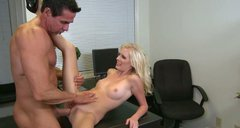 Emotional blond and pale slut enjoys riding a stiff dick in the office