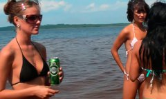 Bunch of Russian whores pose at the beach in tiny bikini