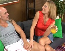 Blonde slut Brenda James gives a great blwojob to her lover