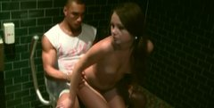 Cute teen gal Mystica gets a fat facial cumshot in a public toilet