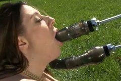 Daring slut is getting double penetrated with sex machine