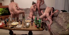 Kristene Dana  and Janet Sonja taking part in hot group sex orgy