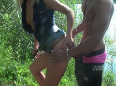 Skanky Russian girl Betsy is fucking feisty in the woods