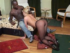 Black dude polishes wet shaved pussy of Russian blond slut