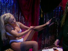 Sextractive stripper Zora Banks gets her soaking pussy finger fucked