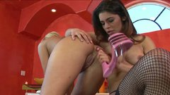Rapacious lesbian Paola Rey pours hot wax on hot body of Carmel Moore