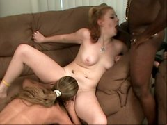 Horny babes Darien Ross and Cherry Poppens fucking one dude