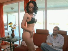 Slutty bitch Veronica Jett is fucking furiously in front of her hubby