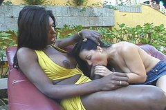 Sexploitress black ladyboy Suzanna Holmes welcomes a mouth fuck from Latin slut