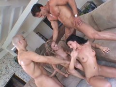 Mia Rose and  Ava Rose like foursome  orgy
