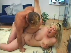 Fat blonde slut Nathaly Norgensta is fucking passionately in a steamy porn clip