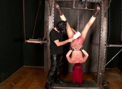 Devilish whore is fucked by sex machine in BDSM scene