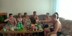 After some bottles of beer slutty nymphos are ready for a tough group sex