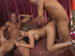 Sophia Gently serve two horny studs at the highest level