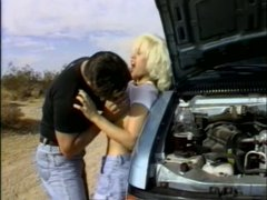 Ash blonde slut Nina Cherry is fucking in a desert