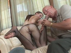 Jordan Minor serves an old guy giving him a hot footjob