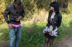 Two horny guys picked up a girl on a bus station and got a hot blowjob in the forest a bit later