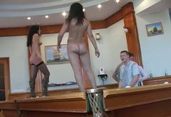 Dancing naked on the billiard table sluts win some dicks for a blowjob
