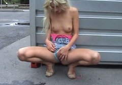 Fugly amateur blonde girl is fucking in public