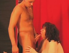 Hippo sized brunette lady Lia serves her old snatch for a young dick