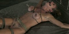 Sexy blonde chick Felony is tied on the bed and teased with vibrator