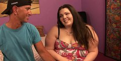 Cute brunette BBW Angie Luv gets picked up for a steamy quickie