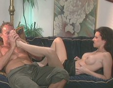 Sensual brunette Alex Foxe wants to fuck the guy on the couch