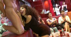 Curly black girl is sucking stripper's cock like she had never sucked before