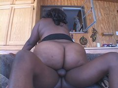 Bootyful Black Beauty is pounded hard in a missionary position
