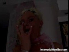 Filthy and horny blonde slut yells while