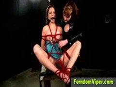 Gagged and tied subject