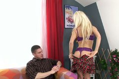 Pallid and hot blond whore sucks a dick with pleasure