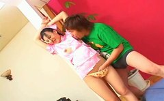 Cuddly Japanese babe Maya Sakamoto gets her bushy pussy tickled